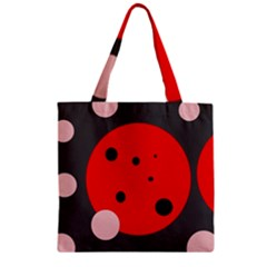 Red and pink dots Zipper Grocery Tote Bag