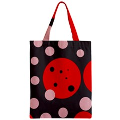 Red and pink dots Zipper Classic Tote Bag