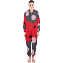 Red and pink dots Hooded Jumpsuit (Ladies)