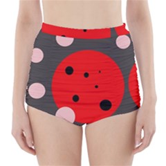 Red and pink dots High-Waisted Bikini Bottoms