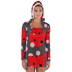 Red and pink dots Women s Long Sleeve Hooded T-shirt