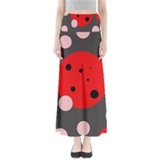 Red and pink dots Maxi Skirts