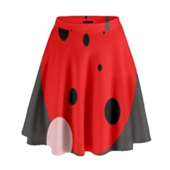 Red And Pink Dots High Waist Skirt