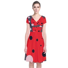 Red and pink dots Short Sleeve Front Wrap Dress