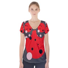 Red And Pink Dots Short Sleeve Front Detail Top