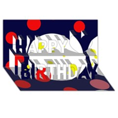 Abstract moon Happy Birthday 3D Greeting Card (8x4)