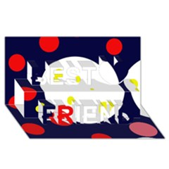 Abstract moon Best Friends 3D Greeting Card (8x4)