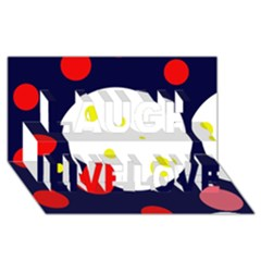 Abstract moon Laugh Live Love 3D Greeting Card (8x4)