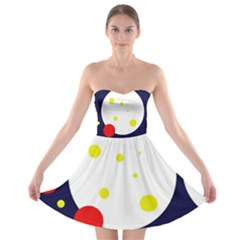 Abstract moon Strapless Dresses