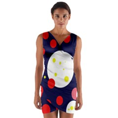 Abstract moon Wrap Front Bodycon Dress