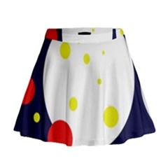 Abstract moon Mini Flare Skirt