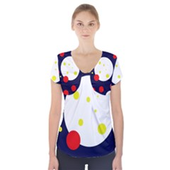 Abstract Moon Short Sleeve Front Detail Top