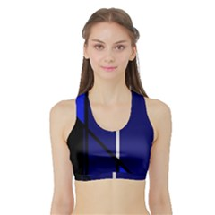 Blue abstraction Sports Bra with Border