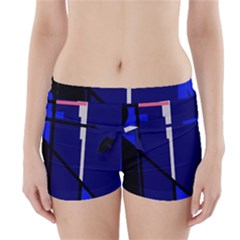 Blue Abstraction Boyleg Bikini Wrap Bottoms