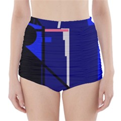 Blue abstraction High-Waisted Bikini Bottoms