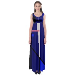 Blue abstraction Empire Waist Maxi Dress