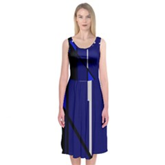 Blue Abstraction Midi Sleeveless Dress