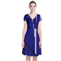 Blue abstraction Short Sleeve Front Wrap Dress