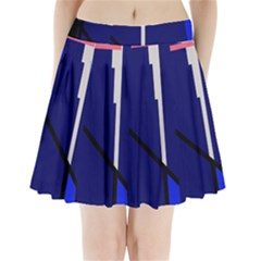 Blue Abstraction Pleated Mini Mesh Skirt(p209)