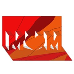 Red and orange decorative abstraction MOM 3D Greeting Card (8x4)