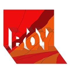 Red and orange decorative abstraction BOY 3D Greeting Card (7x5)