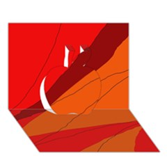 Red and orange decorative abstraction Apple 3D Greeting Card (7x5)
