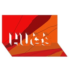 Red and orange decorative abstraction HUGS 3D Greeting Card (8x4)
