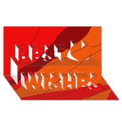 Red and orange decorative abstraction Best Wish 3D Greeting Card (8x4)