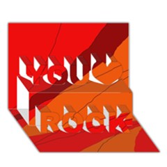 Red and orange decorative abstraction You Rock 3D Greeting Card (7x5)