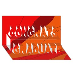 Red and orange decorative abstraction Congrats Graduate 3D Greeting Card (8x4)