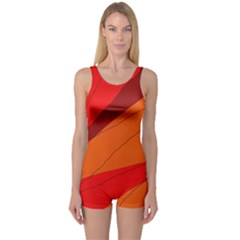 Red and orange decorative abstraction One Piece Boyleg Swimsuit
