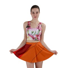 Red and orange decorative abstraction Mini Skirt