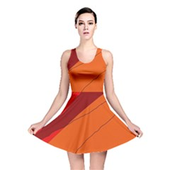 Red and orange decorative abstraction Reversible Skater Dress