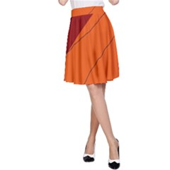 Red and orange decorative abstraction A-Line Skirt