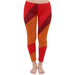 Red and orange decorative abstraction Winter Leggings
