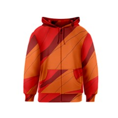 Red and orange decorative abstraction Kids  Zipper Hoodie