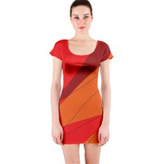 Red and orange decorative abstraction Short Sleeve Bodycon Dress