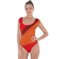 Red and orange decorative abstraction Short Sleeve Leotard