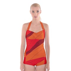 Red And Orange Decorative Abstraction Boyleg Halter Swimsuit