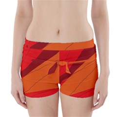 Red and orange decorative abstraction Boyleg Bikini Wrap Bottoms