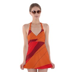 Red and orange decorative abstraction Halter Swimsuit Dress