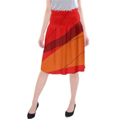 Red and orange decorative abstraction Midi Beach Skirt