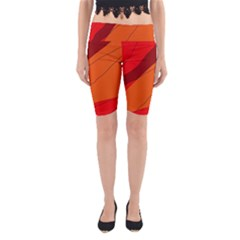 Red And Orange Decorative Abstraction Yoga Cropped Leggings