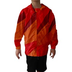 Red And Orange Decorative Abstraction Hooded Wind Breaker (kids)