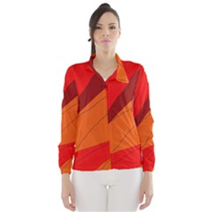 Red and orange decorative abstraction Wind Breaker (Women)