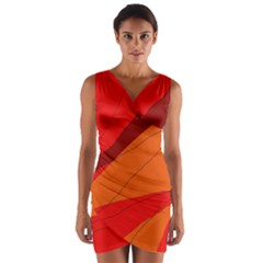 Red and orange decorative abstraction Wrap Front Bodycon Dress