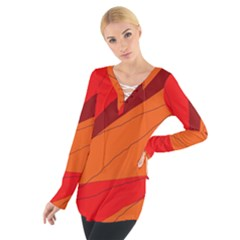 Red and orange decorative abstraction Women s Tie Up Tee