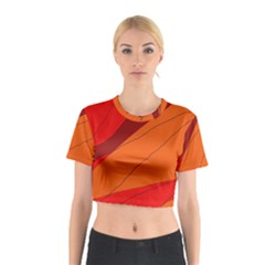 Red and orange decorative abstraction Cotton Crop Top