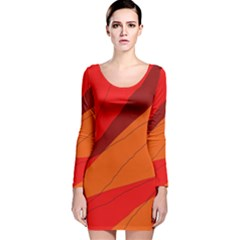 Red and orange decorative abstraction Long Sleeve Velvet Bodycon Dress