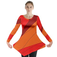 Red and orange decorative abstraction Long Sleeve Tunic